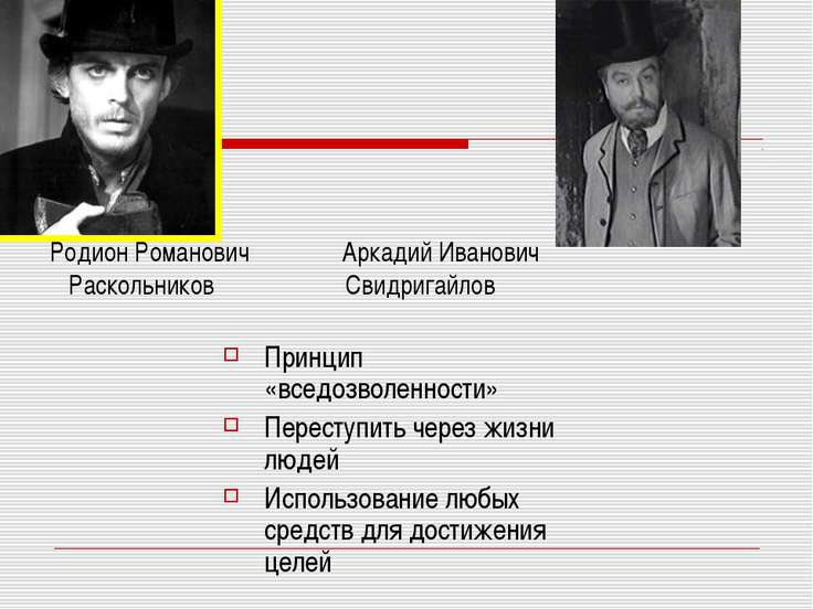 Родион Романович Аркадий Иванович Раскольников Свидригайлов Принцип «вседозво...