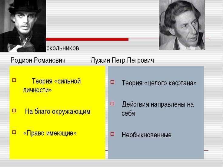 Раскольников Родион Романович Лужин Петр Петрович Теория «сильной личности» Н...