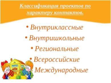 Классификация проектов по характеру контактов. Внутриклассные Внутришкольные ...