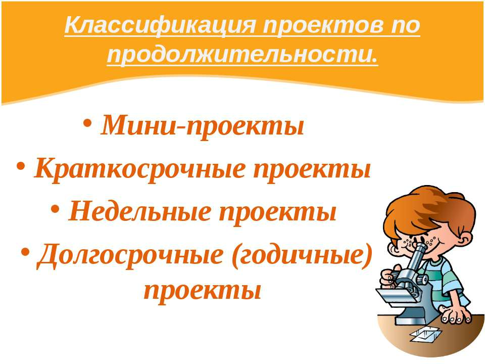 Классификация проектов по продолжительности. Мини-проекты Краткосрочные проек...
