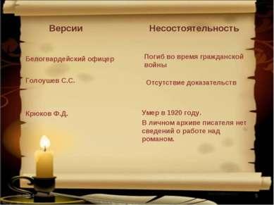 * * Версии Белогвардейский офицер Голоушев С.С. Крюков Ф.Д. Несостоятельность...