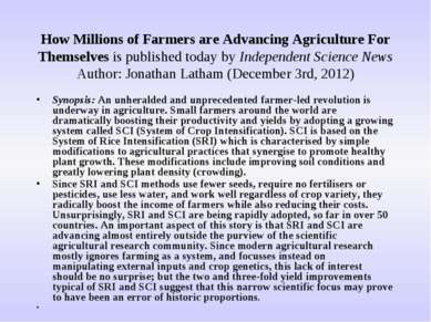 How Millions of Farmers are Advancing Agriculture For Themselves is published...