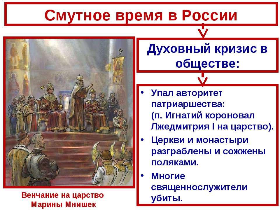 Упал авторитет патриаршества: (п. Игнатий короновал Лжедмитрия I на царство)....