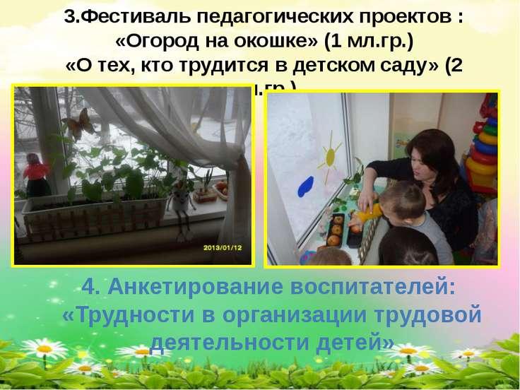 4. Анкетирование воспитателей: «Трудности в организации трудовой деятельности...