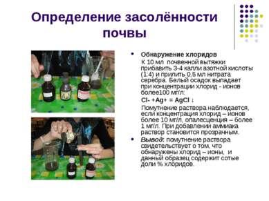 Определение засолённости почвы Обнаружение хлоридов К 10 мл почвенной вытяжки...