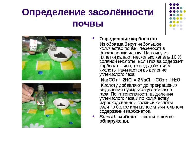 Определение засолённости почвы Определение карбонатов Из образца берут неболь...
