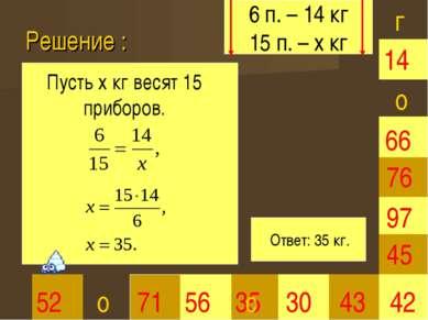 Решение : 35 30 66 45 42 52 71 56 43 97 76 14 г о о Пусть х кг весят 15 прибо...