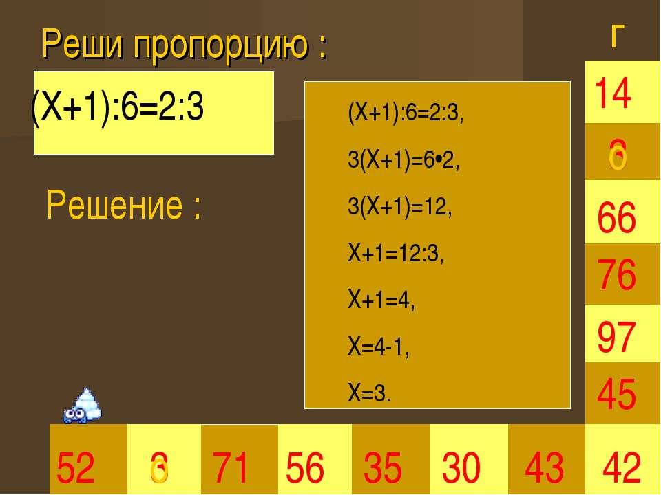 Реши пропорцию : 3 35 30 66 45 42 52 3 71 56 43 97 76 14 (Х+1):6=2:3 Решение ...