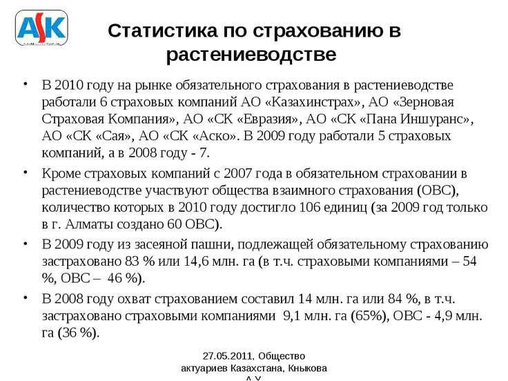 Статистика по страхованию в растениеводстве В 2010 году на рынке обязательног...