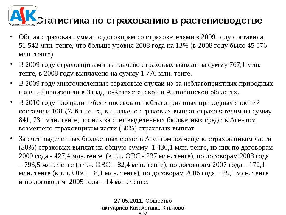 Статистика по страхованию в растениеводстве Общая страховая сумма по договора...