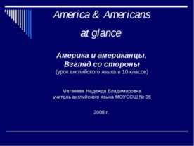 America & Americans at glance