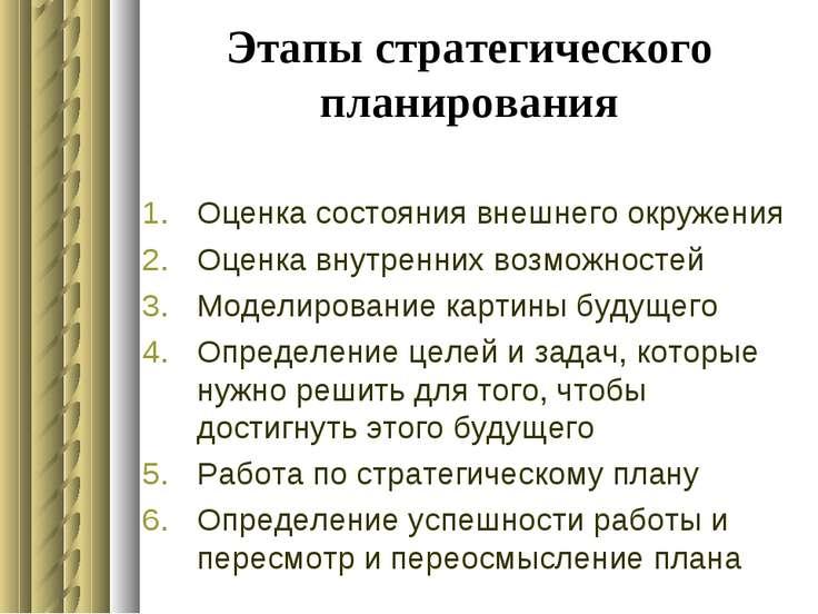 Этапы стратегического планирования Оценка состояния внешнего окружения Оценка...