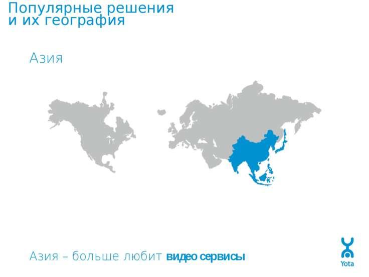 Популярные решения и их география Азия Азия – больше любит видео сервисы