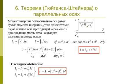 Момент инерции I относительно оси равен сумме момента инерции IC тела относит...