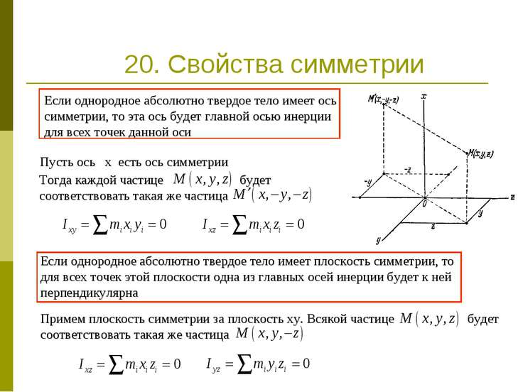 20. Свойства симметрии Пусть ось x есть ось симметрии Если однородное абсолют...