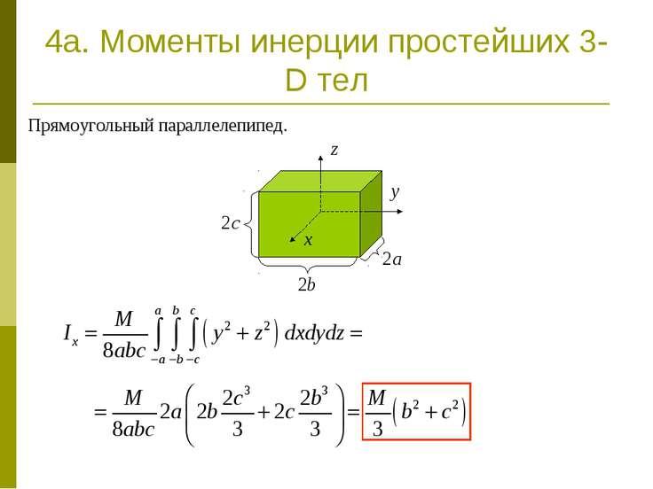 4a. Моменты инерции простейших 3-D тел Прямоугольный параллелепипед.