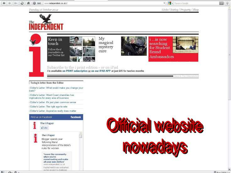 Official website nowadays Official website nowadays