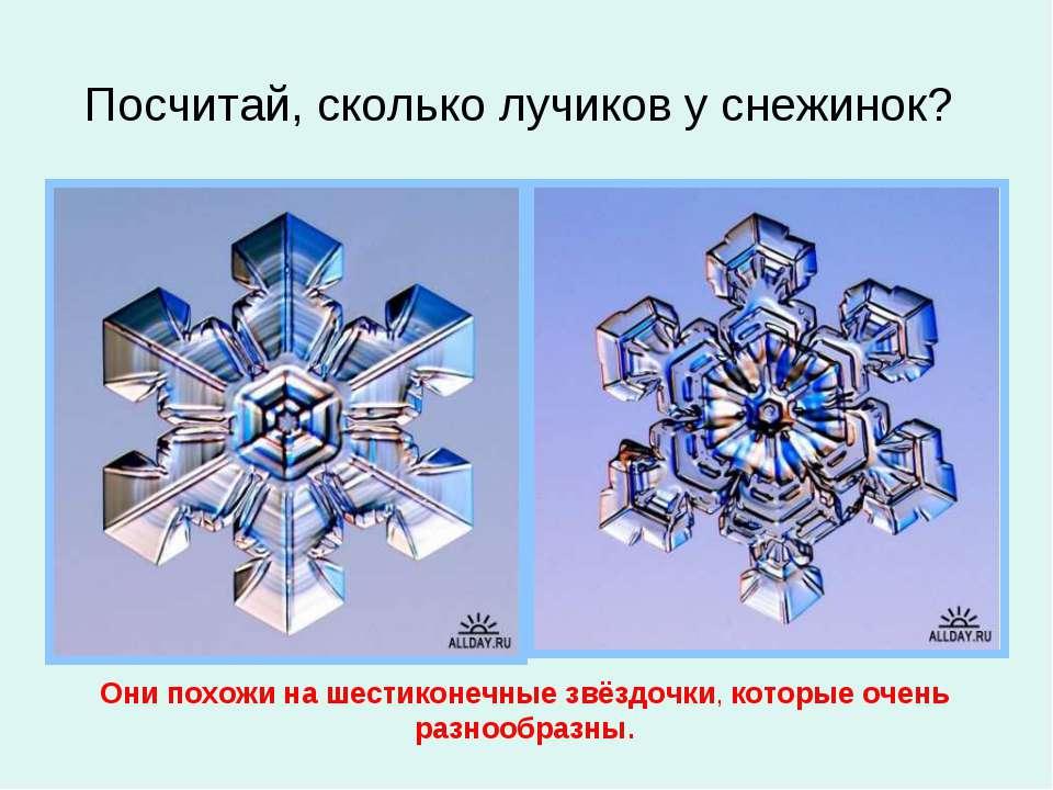 Посчитай, сколько лучиков у снежинок? Они похожи на шестиконечные звёздочки, ...