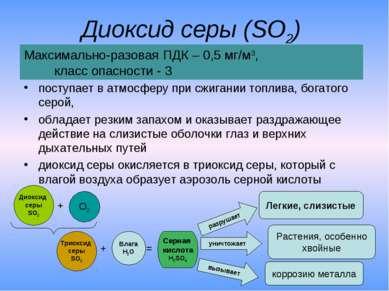 Диоксид серы (SO2) поступает в атмосферу при сжигании топлива, богатого серой...