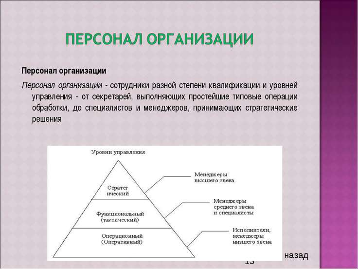 Персонал организации Персонал организации - сотрудники разной степени квалифи...