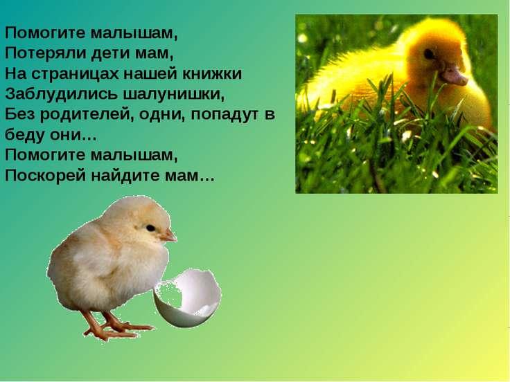 Помогите малышам, Потеряли дети мам, На страницах нашей книжки Заблудились ша...