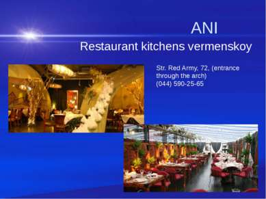ANI Restaurant kitchens vermenskoy Str. Red Army, 72, (entrance through the a...