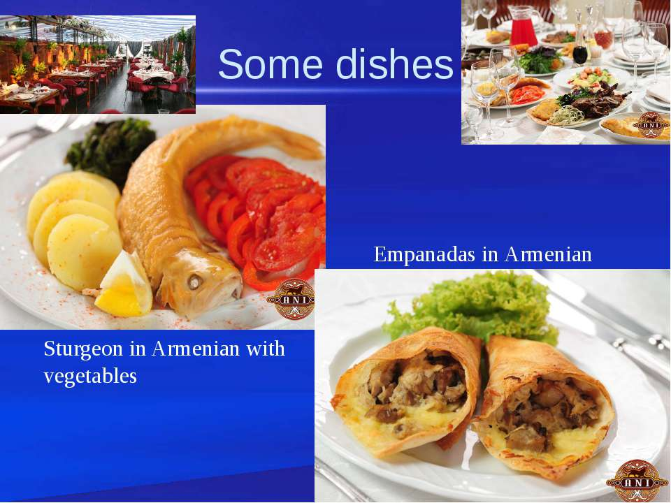 Some dishes Sturgeon in Armenian with vegetables Empanadas in Armenian