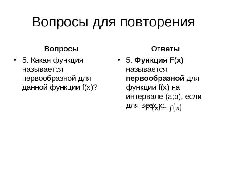 Вопросы для повторения Вопросы 5. Какая функция называется первообразной для ...