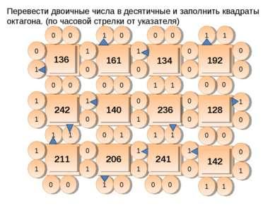 Перевести двоичные числа в десятичные и заполнить квадраты октагона. (по часо...