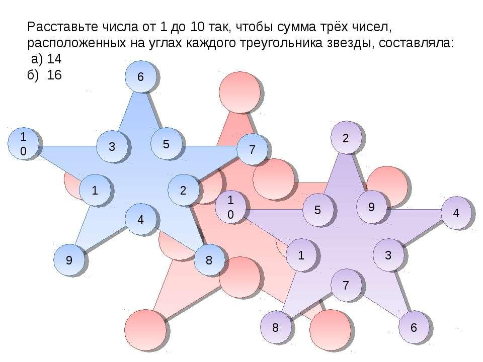 Расставьте числа от 1 до 10 так, чтобы сумма трёх чисел, расположенных на угл...