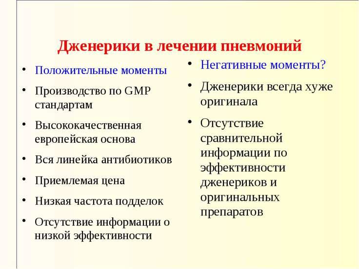 Дженерики в лечении пневмоний Положительные моменты Производство по GMP станд...