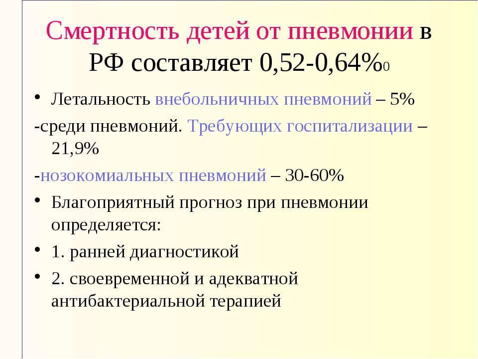 Смертность детей от пневмонии в РФ составляет 0,52-0,64%0 Летальность внеболь...