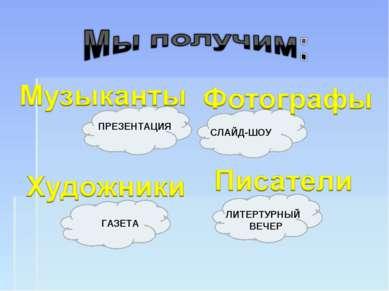 ПРЕЗЕНТАЦИЯ СЛАЙД-ШОУ ГАЗЕТА ЛИТЕРТУРНЫЙ ВЕЧЕР