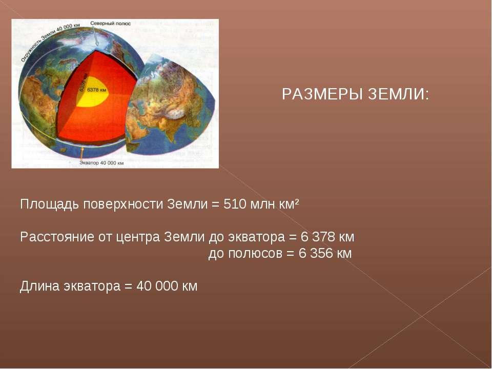 РАЗМЕРЫ ЗЕМЛИ: Площадь поверхности Земли = 510 млн км² Расстояние от центра З...