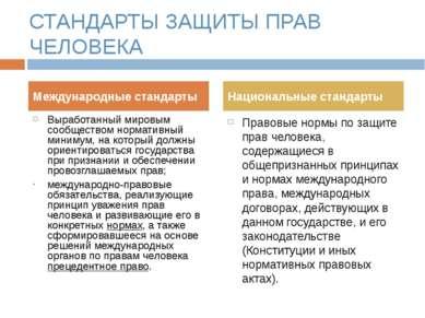 СТАНДАРТЫ ЗАЩИТЫ ПРАВ ЧЕЛОВЕКА Выработанный мировым сообществом нормативный м...