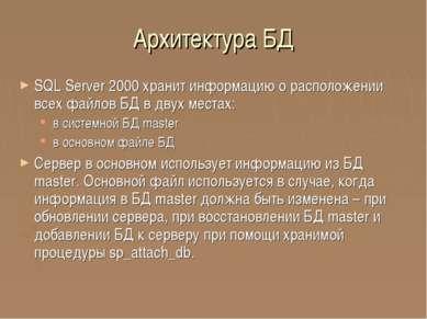 Архитектура БД SQL Server 2000 хранит информацию о расположении всех файлов Б...