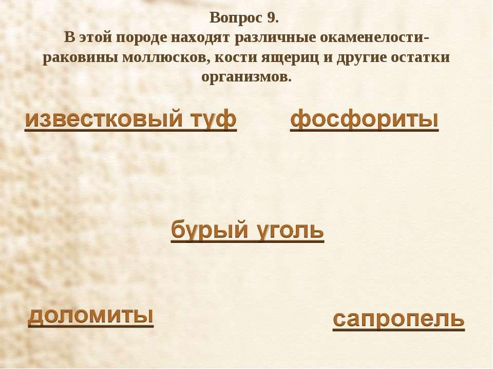 Вопрос 9. В этой породе находят различные окаменелости-раковины моллюсков, ко...