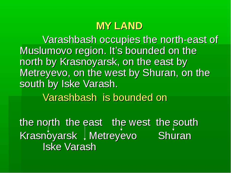 MY LAND Varashbash occupies the north-east of Muslumovo region. It's bounded ...