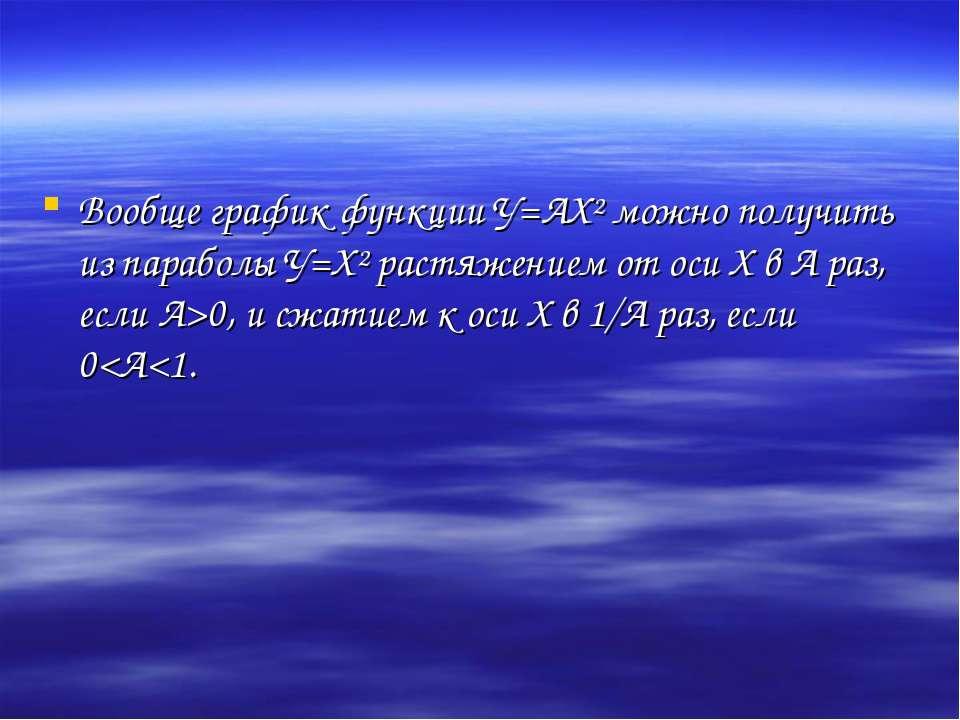 Вообще график функции У=АХ² можно получить из параболы У=Х² растяжением от ос...