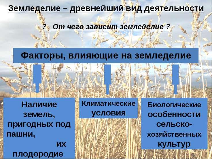 Земледелие – древнейший вид деятельности ? От чего зависит земледелие ? Факто...