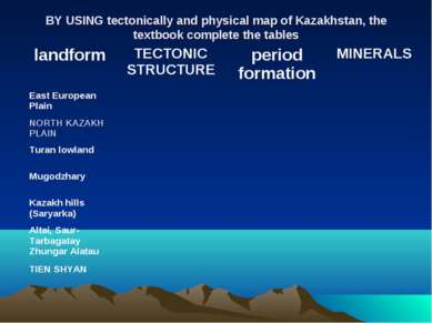 BY USING tectonically and physical map of Kazakhstan, the textbook complete t...