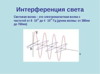 Интерференция света Световая волна – это электромагнитная волна с частотой от...