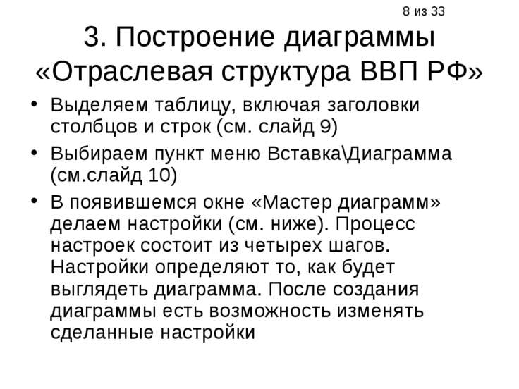 3. Построение диаграммы «Отраслевая структура ВВП РФ» Выделяем таблицу, включ...