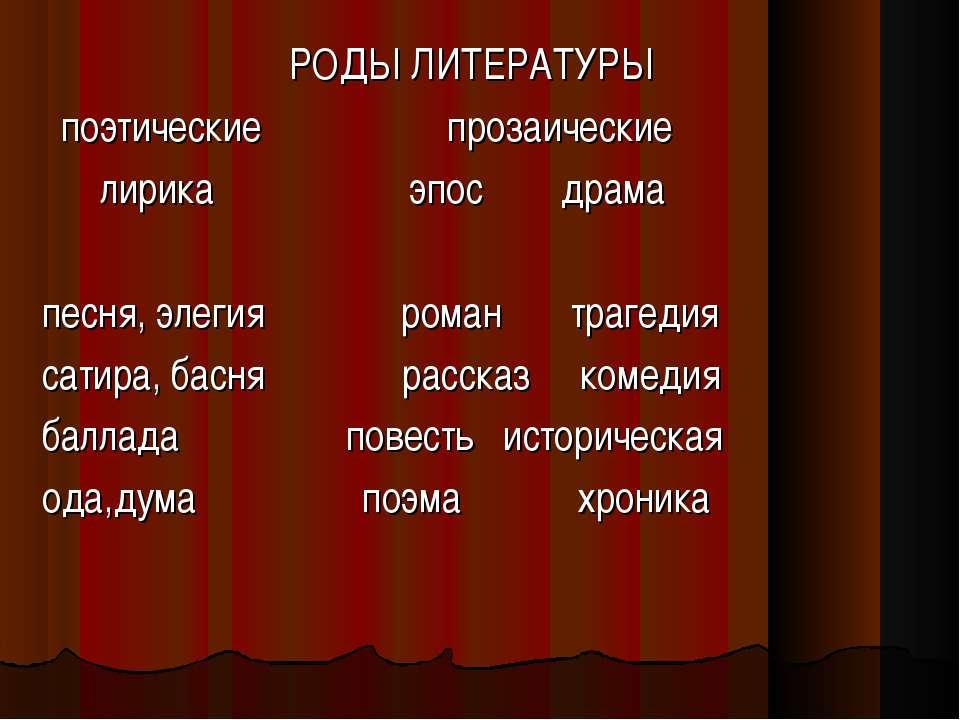 РОДЫ ЛИТЕРАТУРЫ поэтические прозаические лирика эпос драма песня, элегия рома...