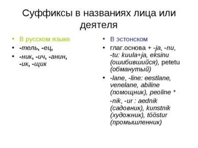 Суффиксы в названиях лица или деятеля В русском языке -тель, -ец, -ник, -ич, ...