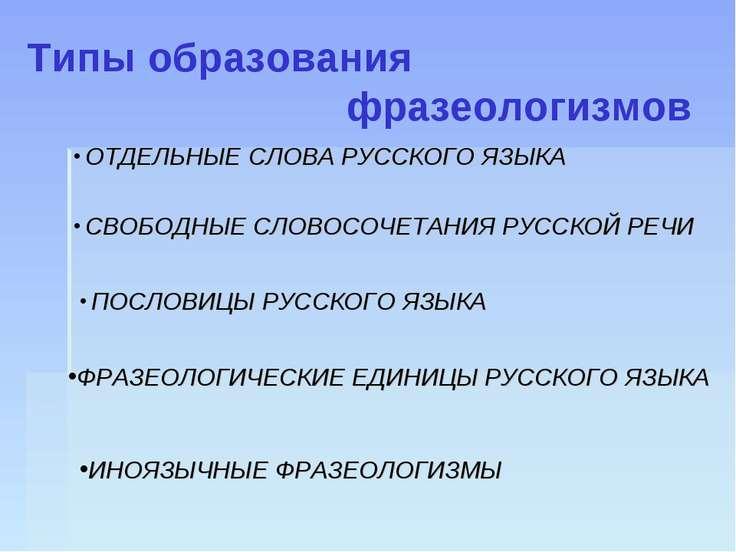 Типы образования фразеологизмов ОТДЕЛЬНЫЕ СЛОВА РУССКОГО ЯЗЫКА СВОБОДНЫЕ СЛОВ...