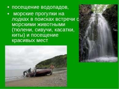 посещение водопадов, морские прогулки на лодках в поисках встречи с морскими ...
