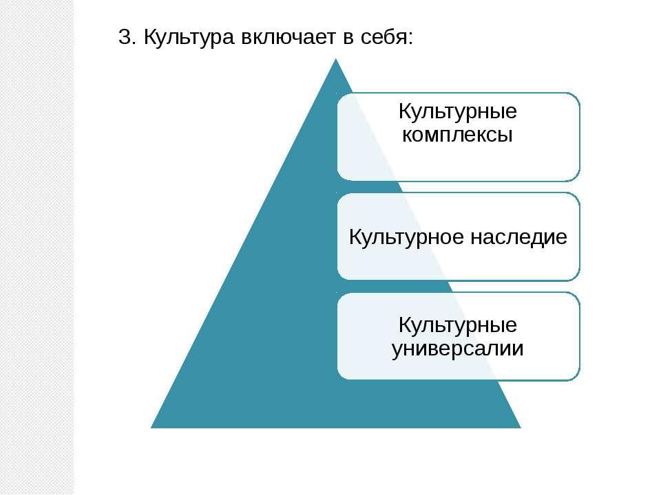 3. Культура включает в себя: