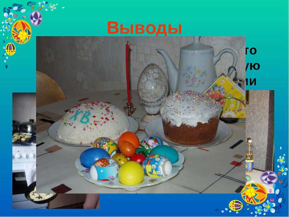 Выводы В Христово Воскресение принято печь куличи, готовить творожную пасху, ...