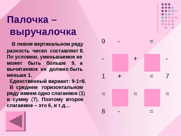 Палочка – выручалочка В левом вертикальном ряду разность чисел составляет 8. ...